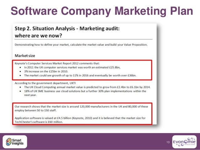 company marketing plan Template for a basic marketing plan, including situation analysis, market segmentation, alternatives, recommended strategy, and implications of that strategy.