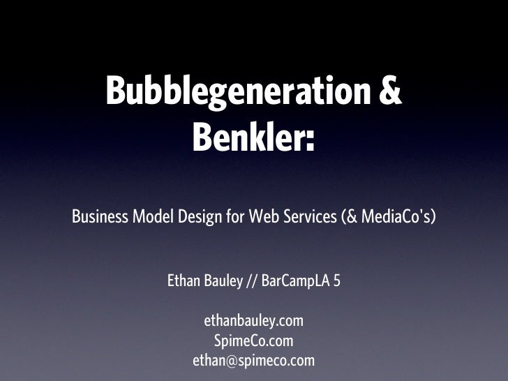 Business Model Design for Web Services: Ethan Bauley