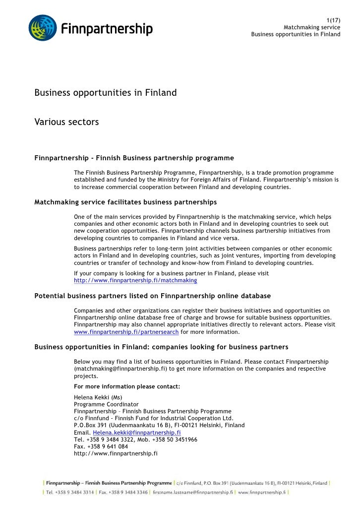 Business opportunities in Finland <br />Various sectors<br />Finnpartnership - Finnish Business partnership programme <br ...