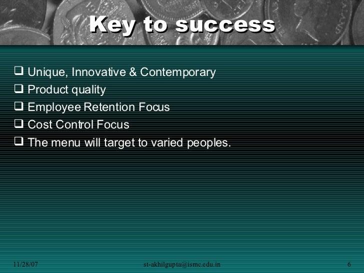 Business plan keys to success sample