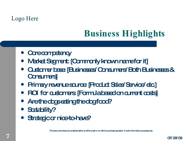 management highlights in business plan