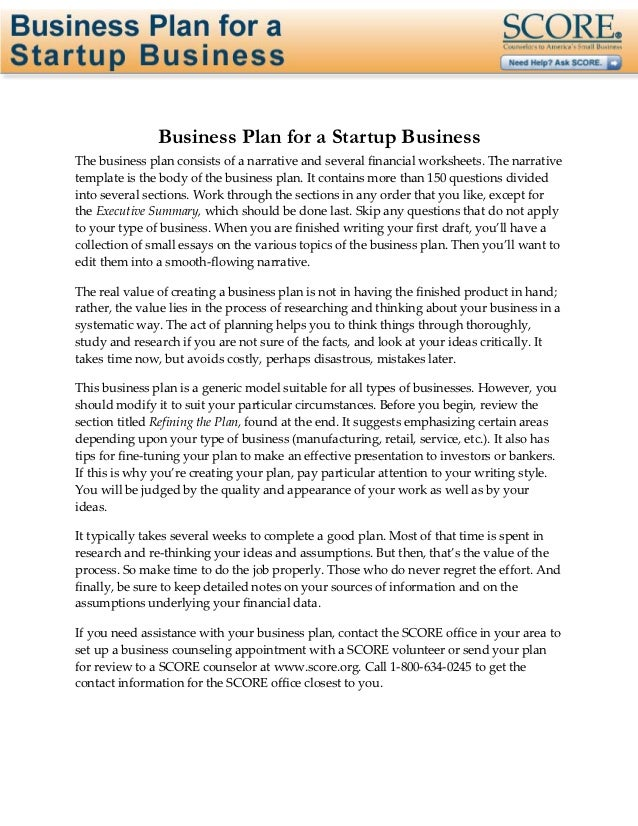 Page 1 of 31                Business Plan for a Startup BusinessThe business plan consists of a narrative and several fina...