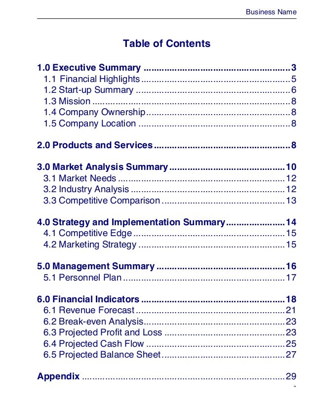 trading business plan template