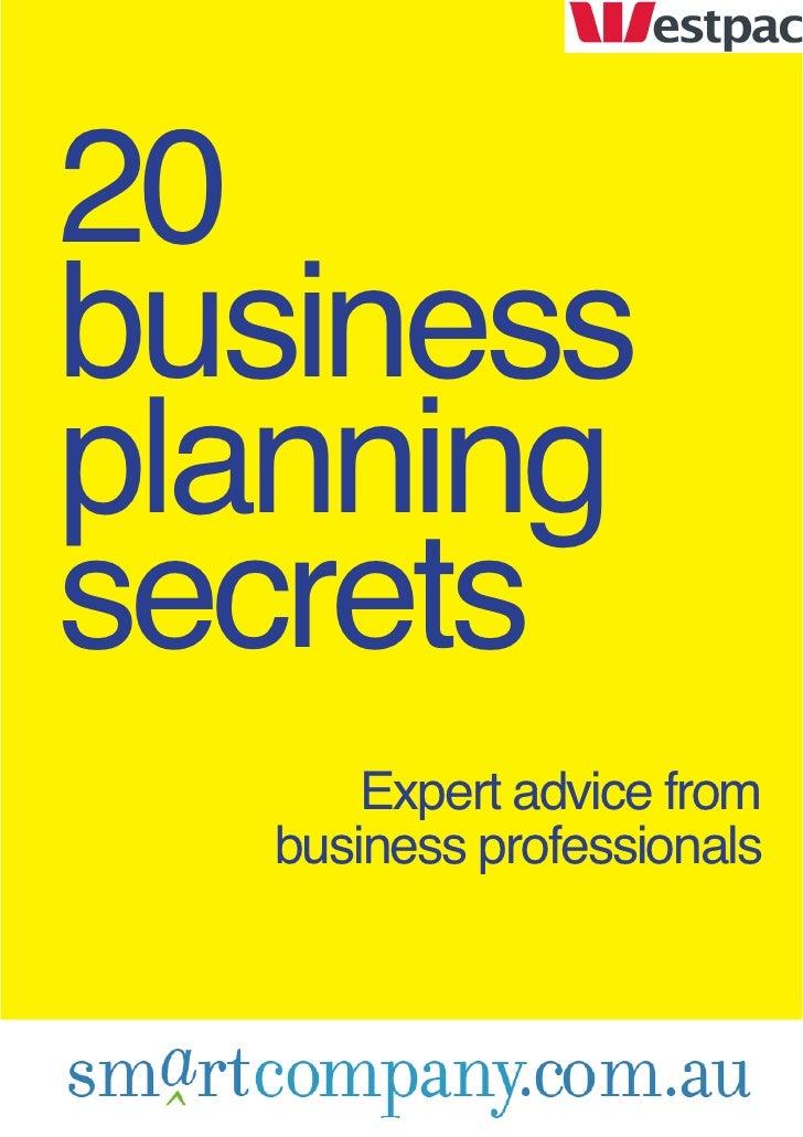20 business planning secrets                                    Expert advice from                                business...