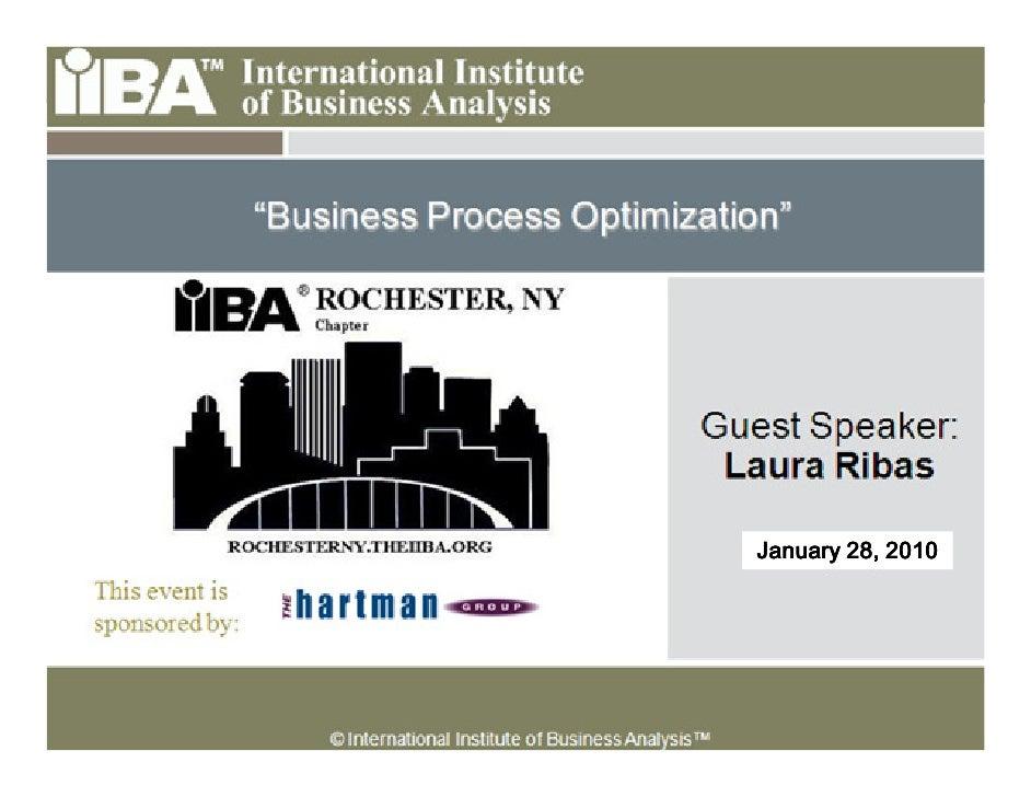 Business Process Optimization - Jan 2010