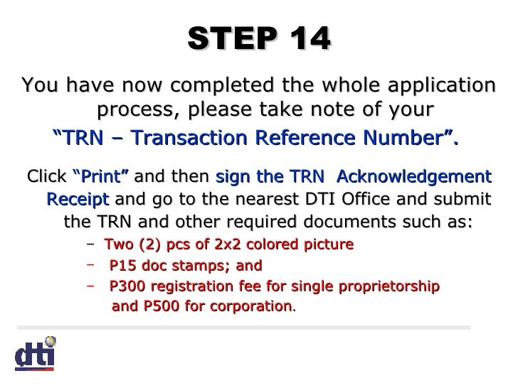 your application reference number trn