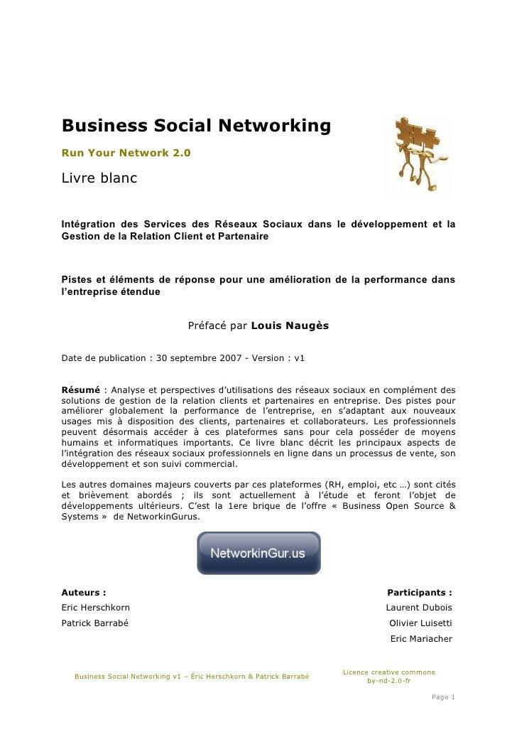 Business Social Networking Run Your Network 2.0  Livre blanc   Intégration des Services des Réseaux Sociaux dans le dévelo...