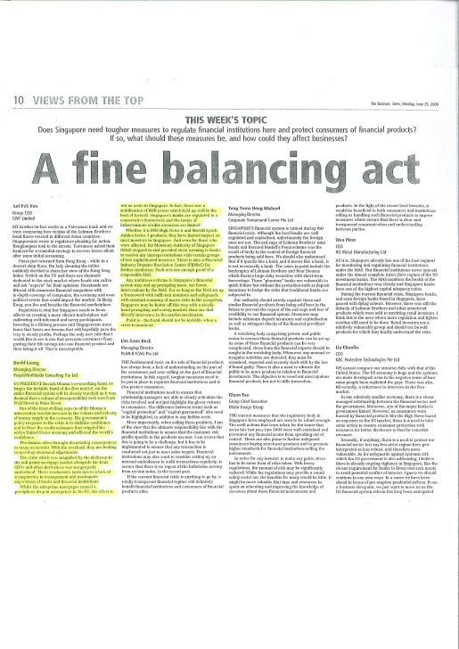 Business Times_A fine balancing Act_ 29 June 09