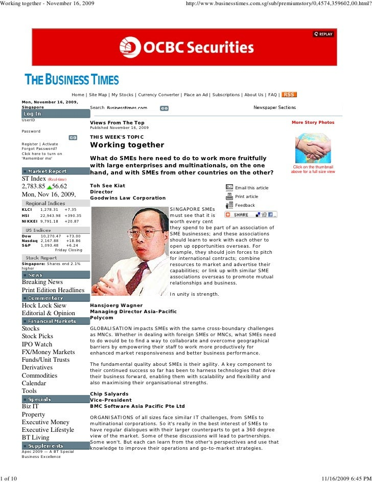 Business Times_Working Together_ 16  November 2009   S