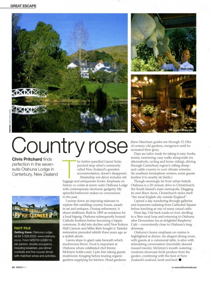 Business Traveller March 2010 - Otahuna Luxury Lodge New Zealand