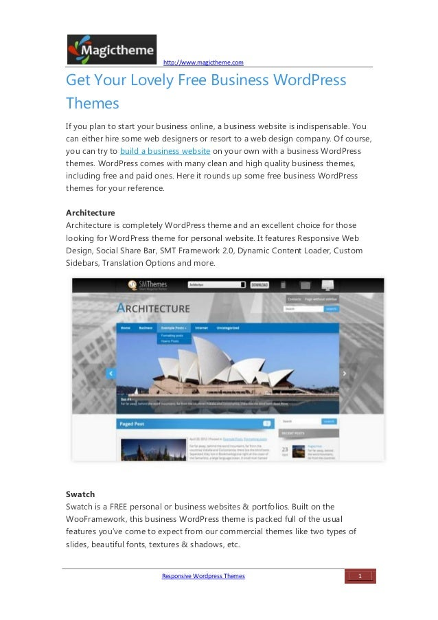 Get Your Lovely Free Business WordPress Themes