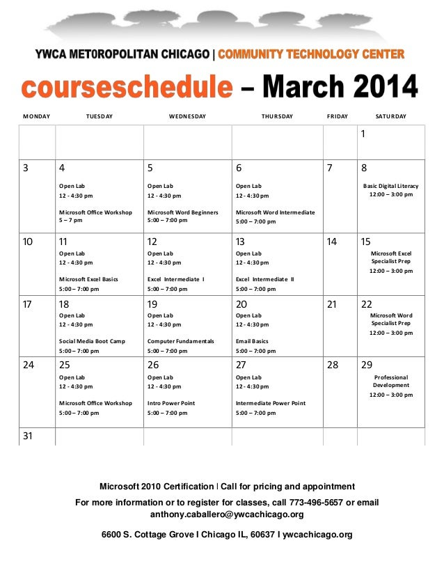 March 2014 Business Technology Courses at YMCA, March 2014