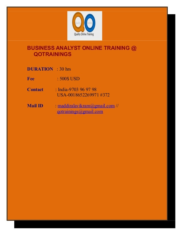 Business analyst online training from inida
