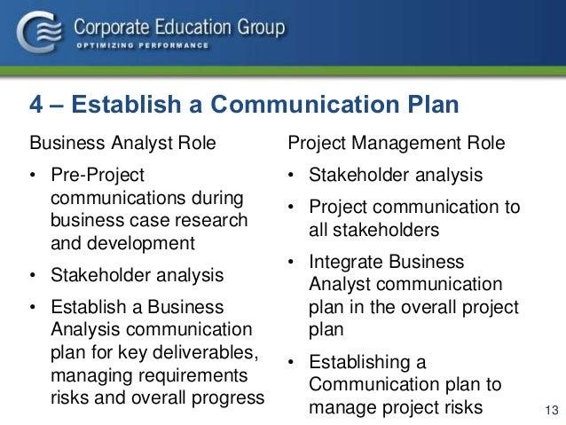 Business analysis communication plan