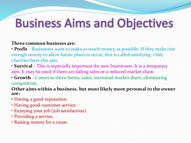 aims and objectives of businesses