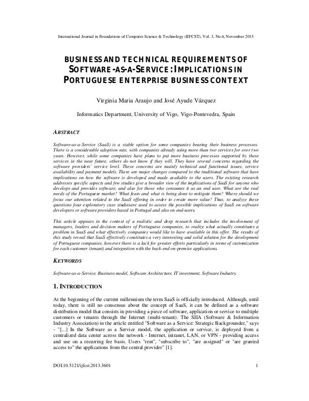 Business and technical requirements of software as-a-service implications in portuguese enterprise business context