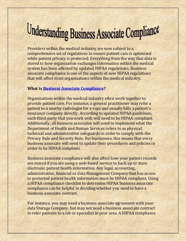 Business associate compliance