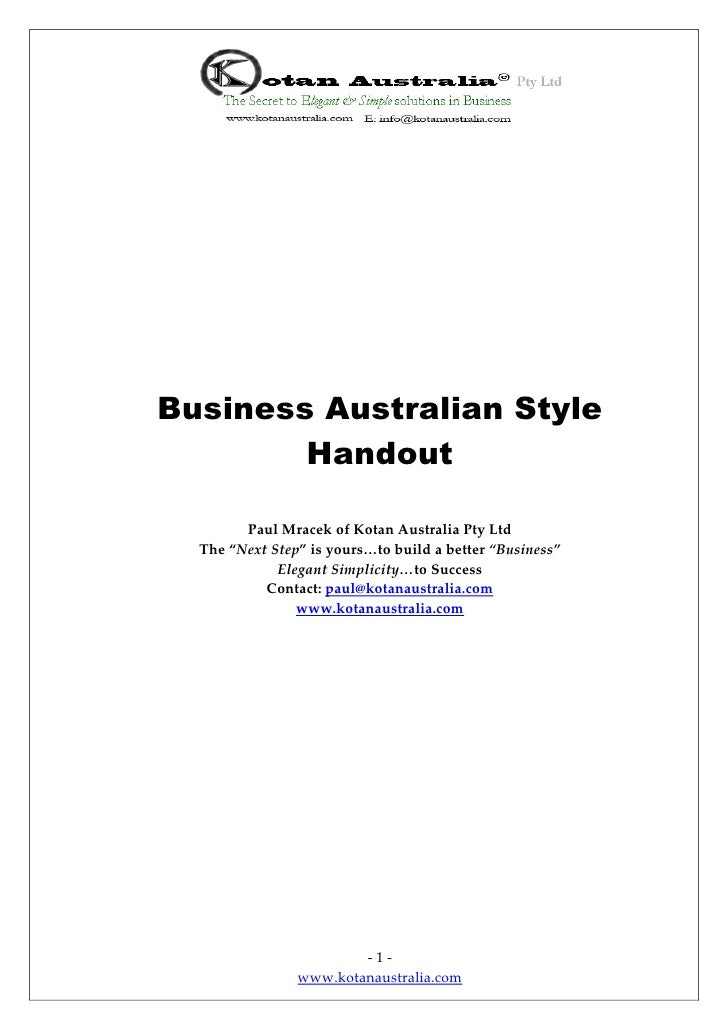 Business Australian Style & Operations Insights