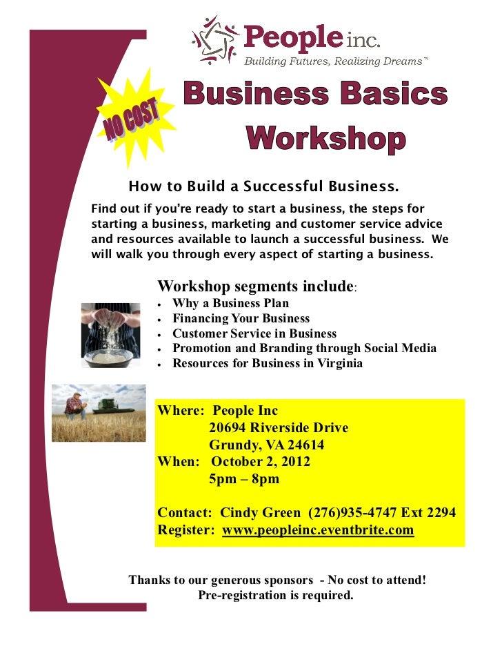 Business Basics Workshop Grundy October 2, 2012 5pm - 8pm NO COST