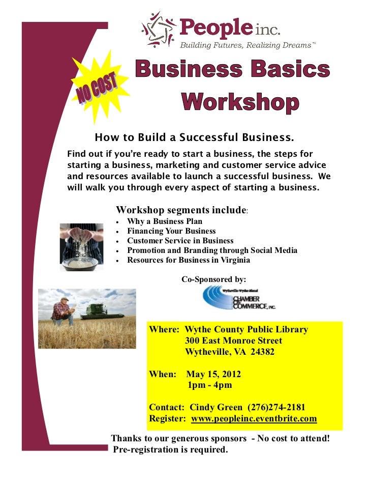 Business Basics Workshop Wytheville May 15,  2012 1-4pm