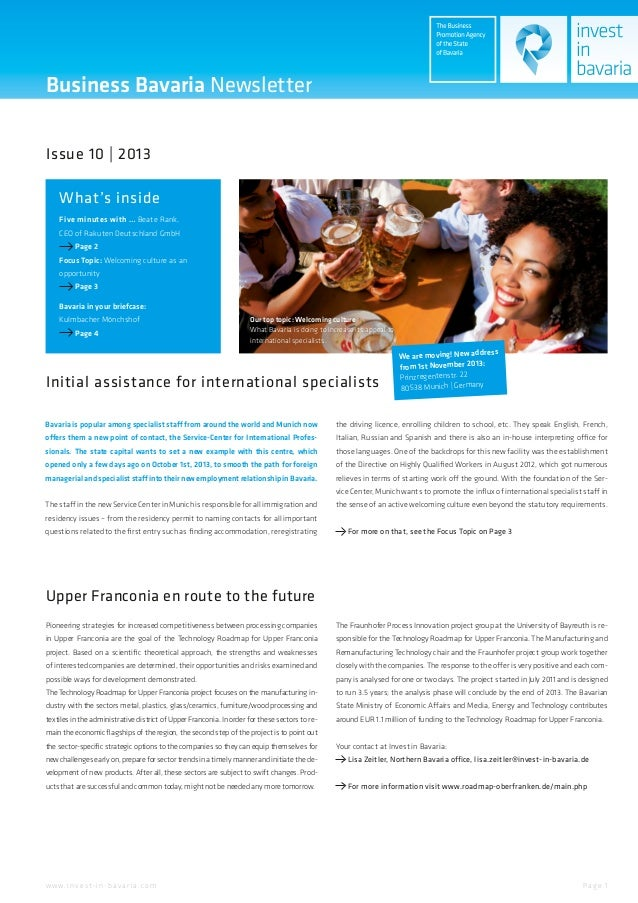 Business Bavaria Newsletter Issue 10 | 2013 What's inside Five minutes with … Beate Rank, CEO of Rakuten Deutschland GmbH ...