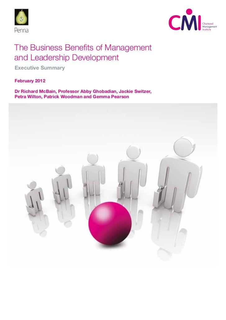The Business Benefits of Management and Leadership Development