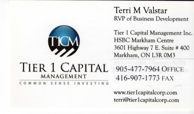 Terri M Valstar - Tier1 Capital Management Business Card