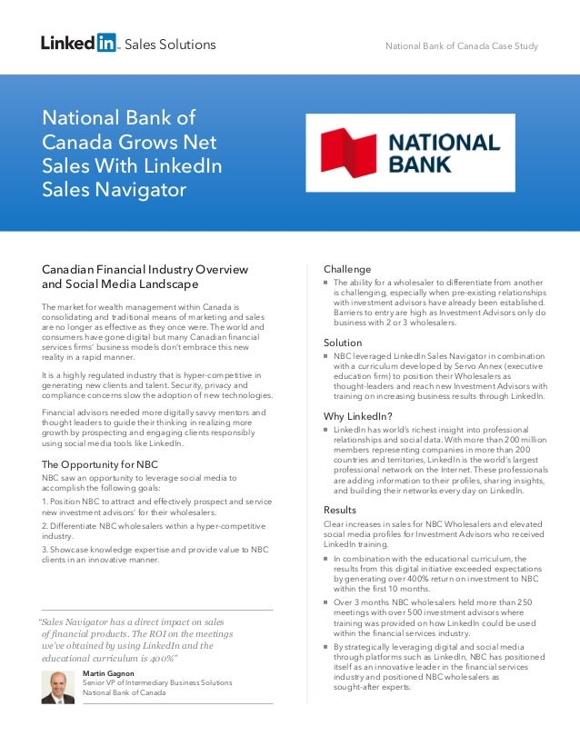 Business case   national bank of canada