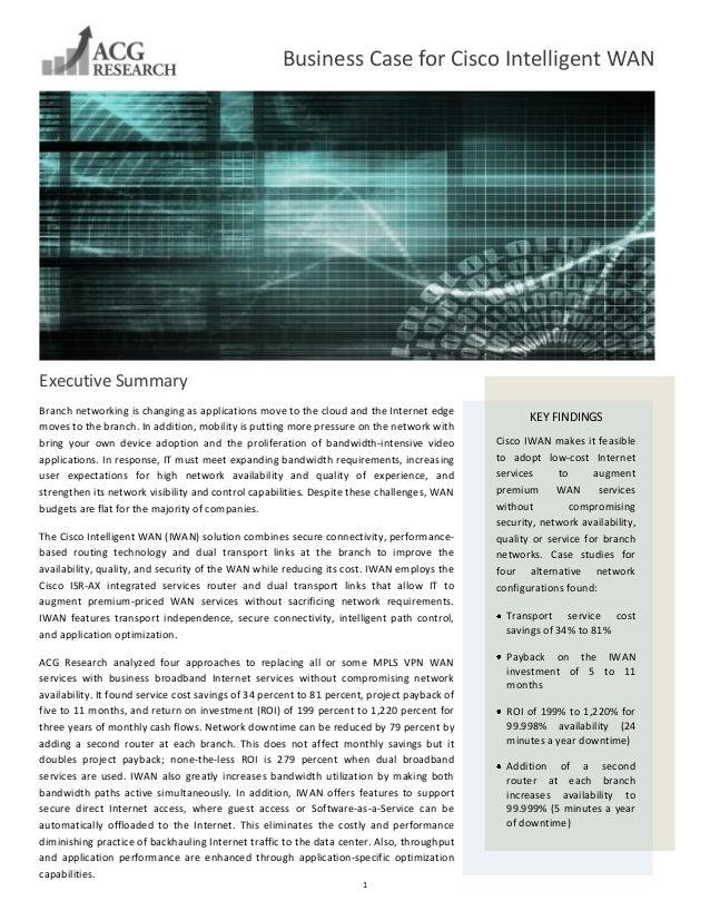 Business Case for Cisco Intelligent WAN