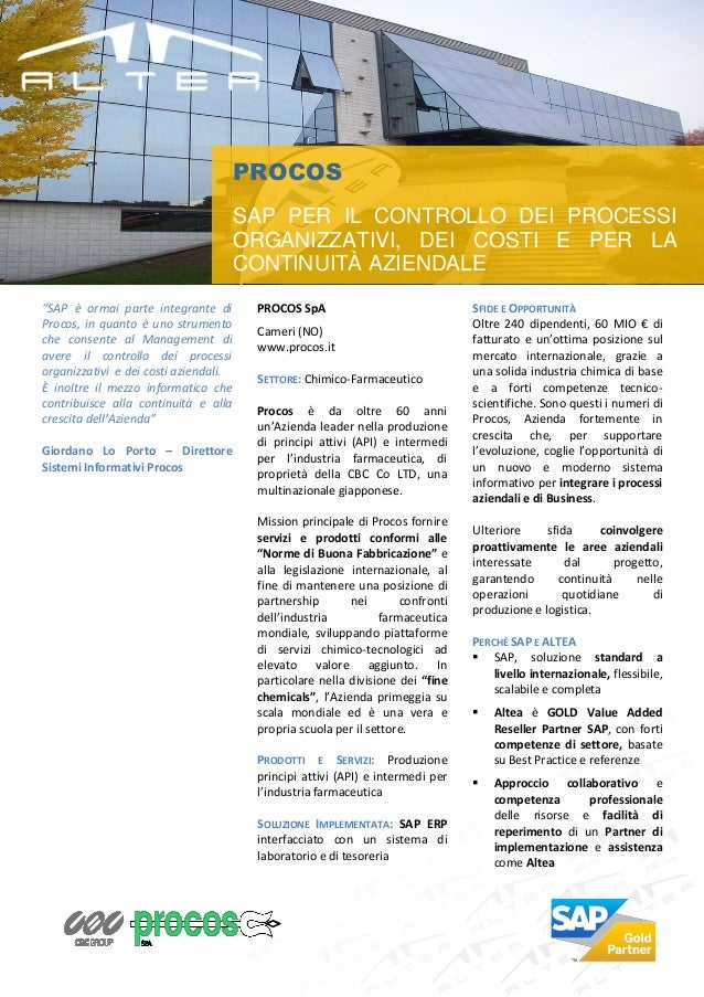 PROCOS                                       SAP PER IL CONTROLLO DEI PROCESSI                                       ORGAN...