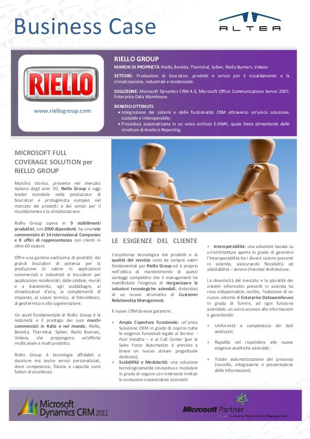 ALTEA MICROSOFT Business Case RIELLO for CRM & GEO BI