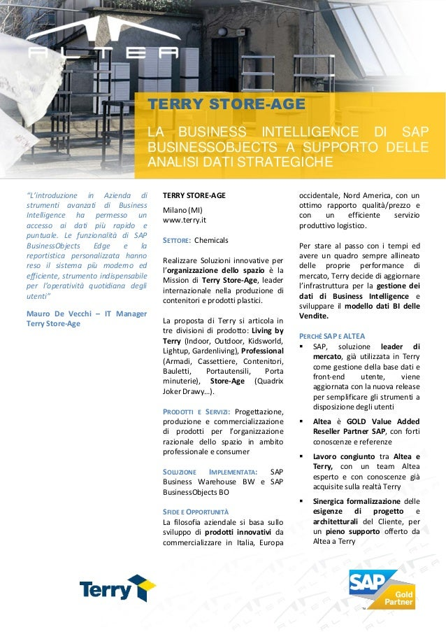 TERRY STORE-AGE                                       LA BUSINESS INTELLIGENCE DI SAP                                     ...