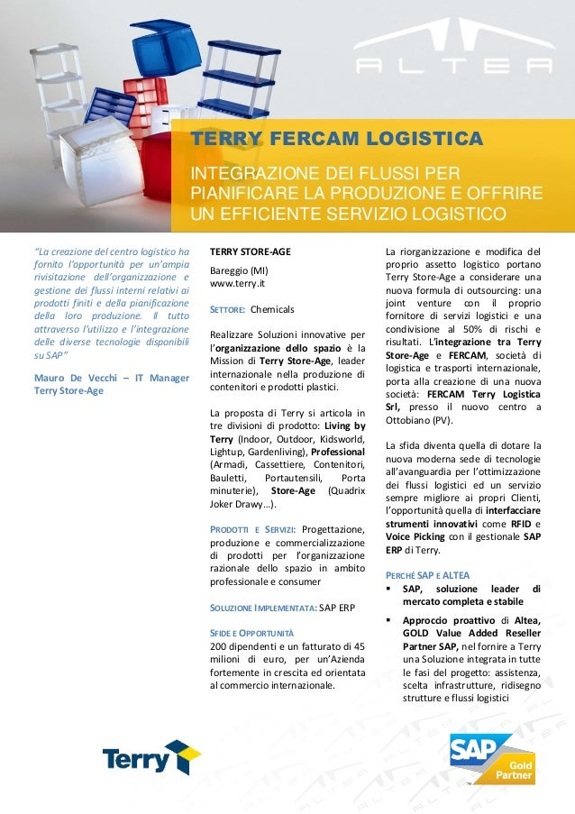 TERRY FERCAM LOGISTICA                                          INTEGRAZIONE DEI FLUSSI PER                               ...