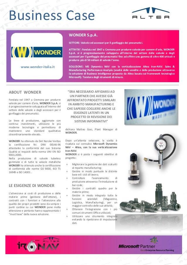 Business Case                                                     WONDER S.p.A.                                           ...