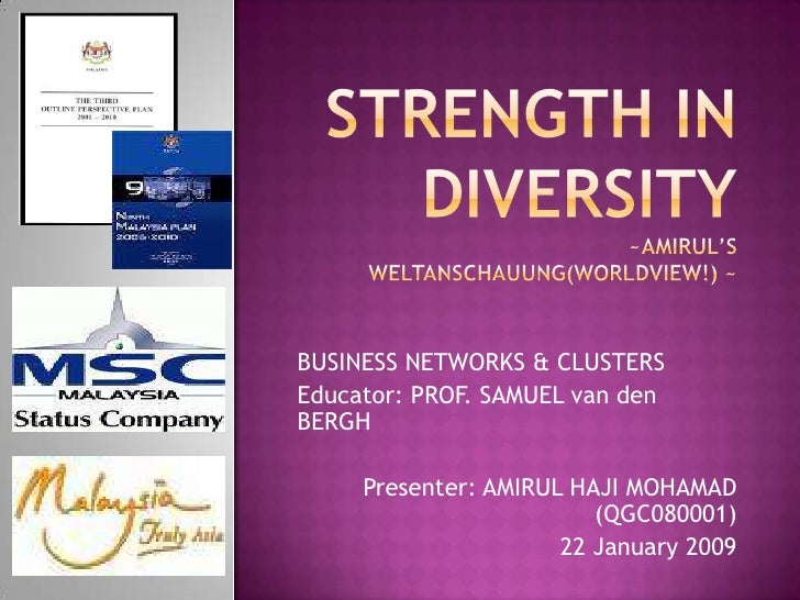 STRENGTH IN DIVERSITY~Amirul's weltanschauung(worldview!) ~<br />BUSINESS NETWORKS & CLUSTERS <br />Educator: PROF. SAMUEL...