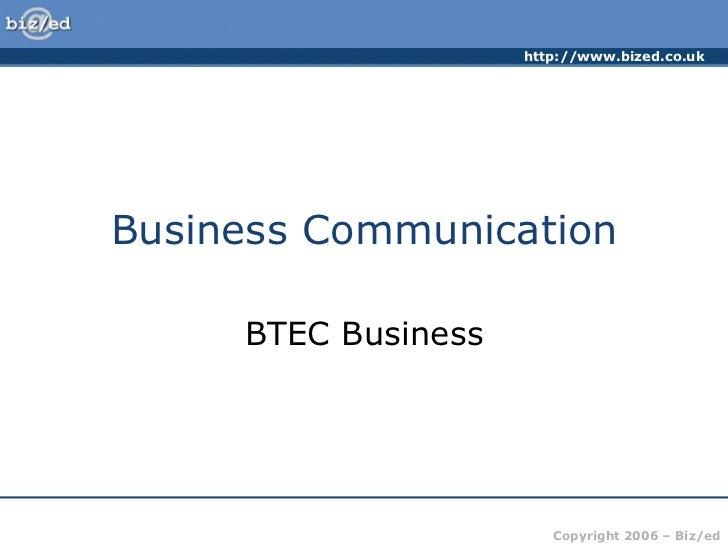 Business Communication BTEC Business