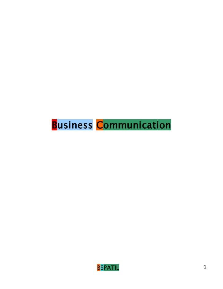 Business Communication        BSPATIL          1