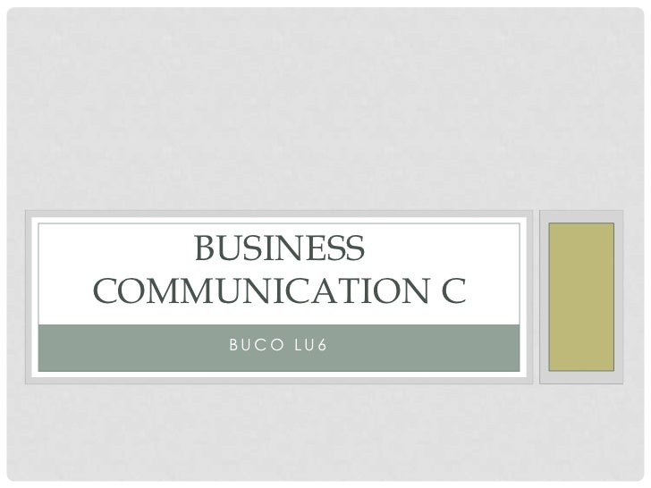 Business communication c lu6