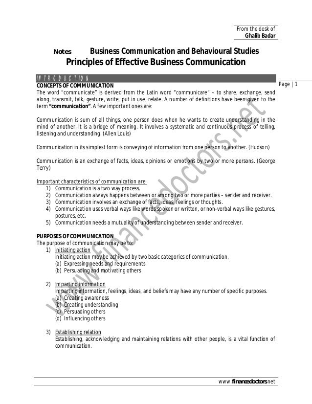 From the desk of Ghalib Badar  Notes  Business Communication and Behavioural Studies  Principles of Effective Business Com...