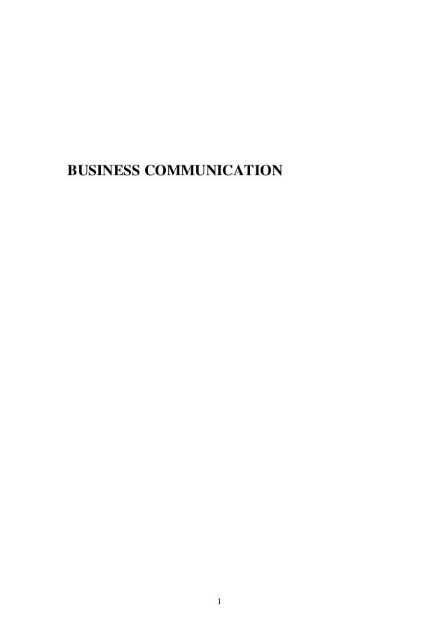 Business Communication: Business communication self learning material