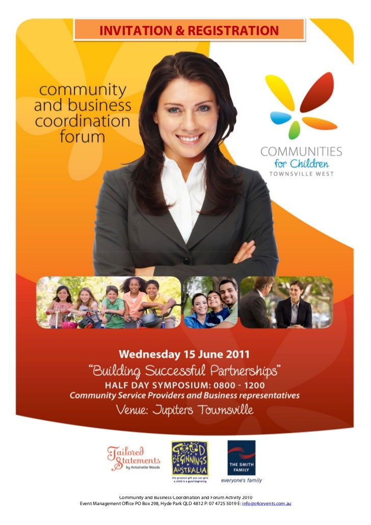 INVITATION & REGISTRATION                 www.c4cevents.com.au               Community and Business Coordination and Forum...