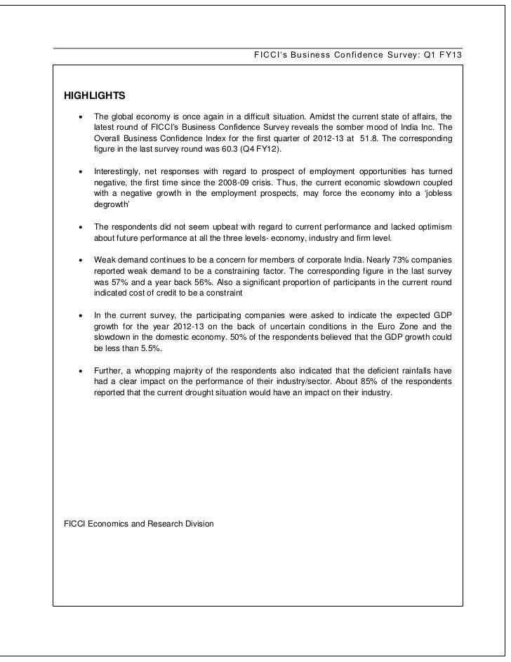 Business Confidence Survey Q1 2012 - FICCI