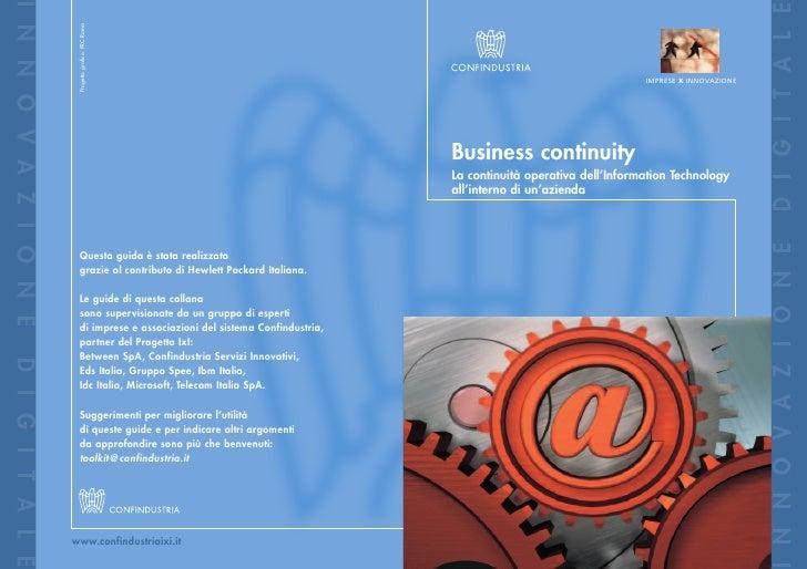 Business continuity - La continuità operativa dell'Information Technology all'interno di un'azienda