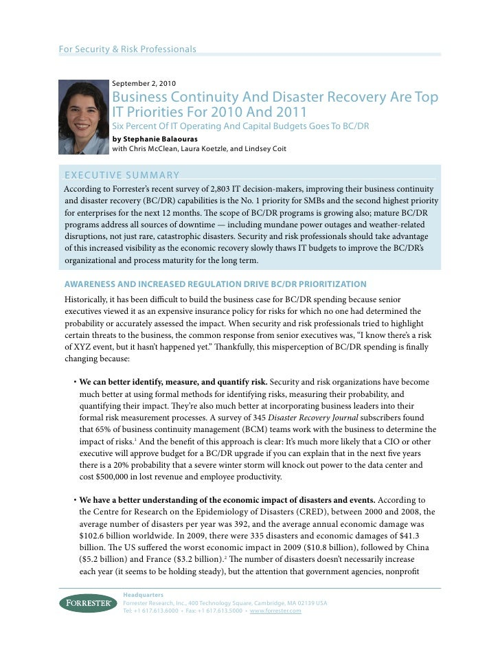 For Security & Risk Professionals              September 2, 2010              Business Continuity And Disaster Recovery Ar...