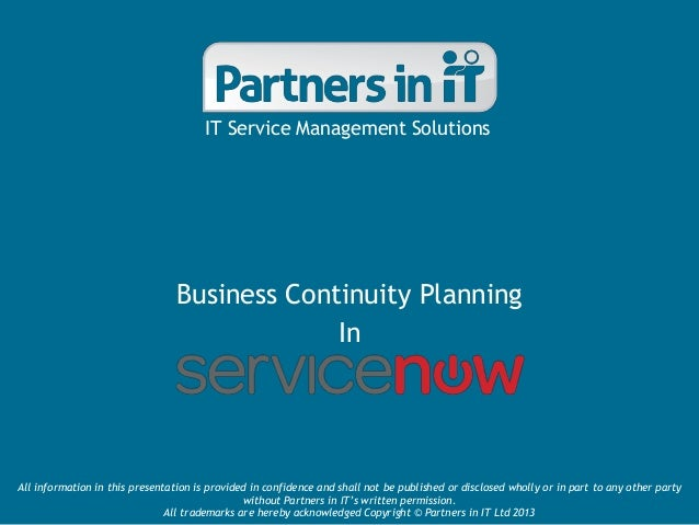 Business Continuity Planning in ServiceNow