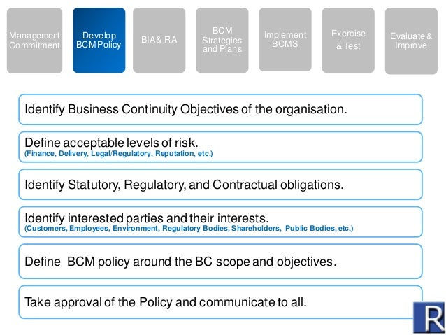 Business continuity plan objectives