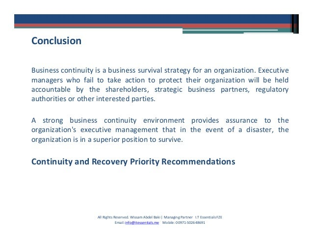 business continuity management case study
