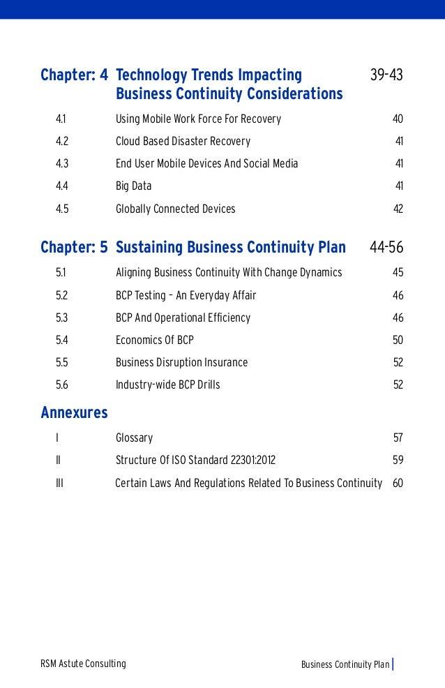 contents of business continuity plan