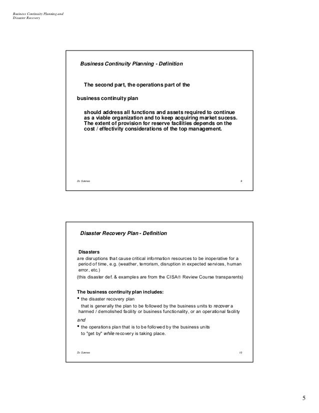 dissertation business continuity I explore business continuity planning and disaster recovery planning and its importance in support of operation and establish to manage availability of.