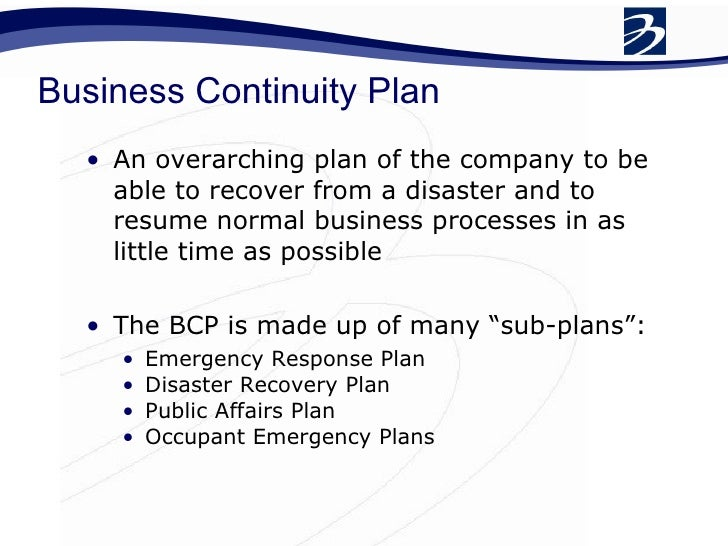 Business continuity plan for banks